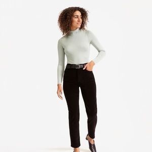 Everlane Baby Cord Cheeky Straight Corduroy Pants in Black Size 26